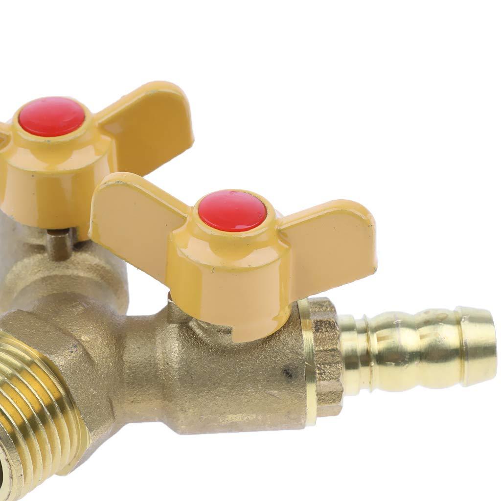 1x Brass Two Way Natural Gas Pipe Splitter Connector Piece Adapter Valve