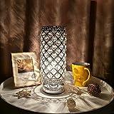 Tomshine Crystal Silver Beside Table Lamp Desk Light UL-Listed Decorative for Bedroom Living Dining Room Coffee Shop Bookcase Dresser