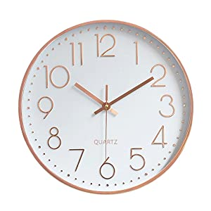 Foxtop Modern Wall Clock, Silent Non-Ticking Quartz Decorative Battery Operated Wall Clock for Living Room Home Office School w Rose Gold Plastic Frame Glass Cover (12 inch, Arabic Numeral)