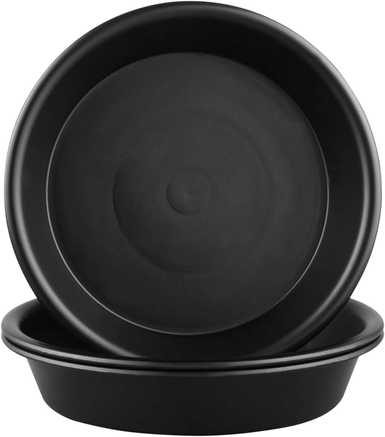 QDBNW Plant Saucer 10 inch of 3 Pack Black Heavy Duty Sturdy Durable Plastic Drip Trays, with 3 Pcs Plant Labels, Plant Trays for Indoor Outdoor Garden