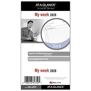 """AT-A-GLANCE 2020 Weekly Planner Refill, Day Runner, 3-3/4"""" x 6-3/4"""", Portable Size 3, Loose-Leaf (063-285Y)"""