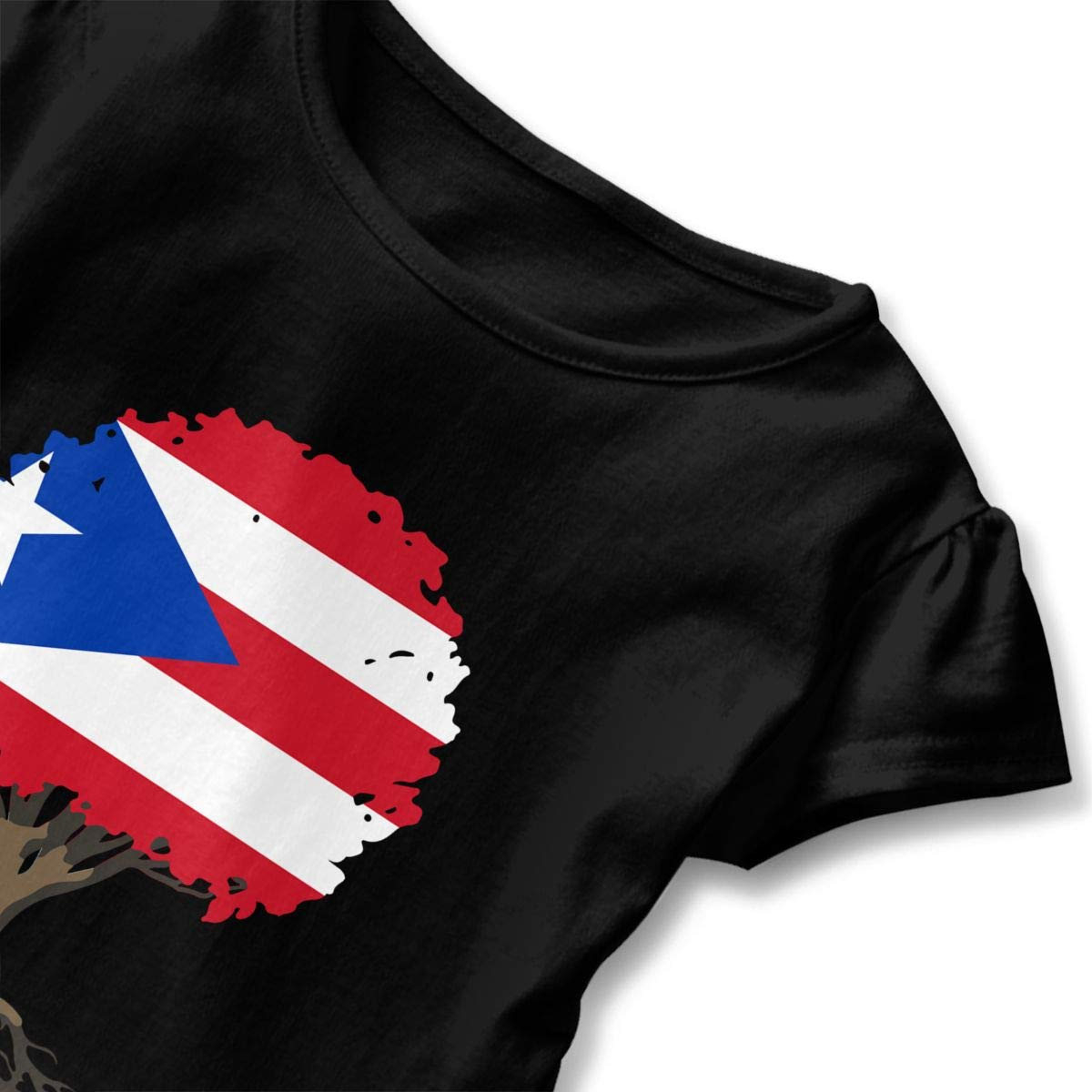 Toddler Baby Girl Tree of Life with Puerto Rico Flag Funny Short Sleeve Cotton T Shirts Basic Tops Tee Clothes