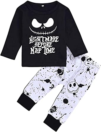 Toddler Baby Boys Clothes 2PCs Outfit Set Nightmare Printing Long Sleeve and Cam