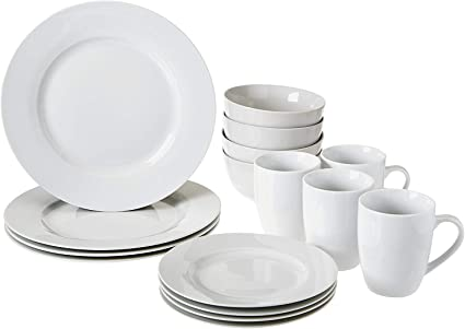 Amazon Basics Amazonbasics 16 Piece Dinnerware Set Service For 4 Ab Grade Porcelain White Amazon Co Uk Kitchen Home