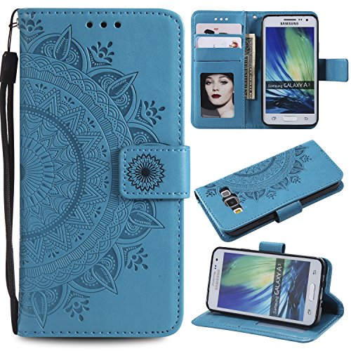 Galaxy A3 2015 Floral Wallet Case,Galaxy A3 2015 Strap Flip Case,Leecase Embossed Totem Flower Design Pu Leather Bookstyle Stand Flip Case for Samsung Galaxy A3 2015-Blue by Leecase