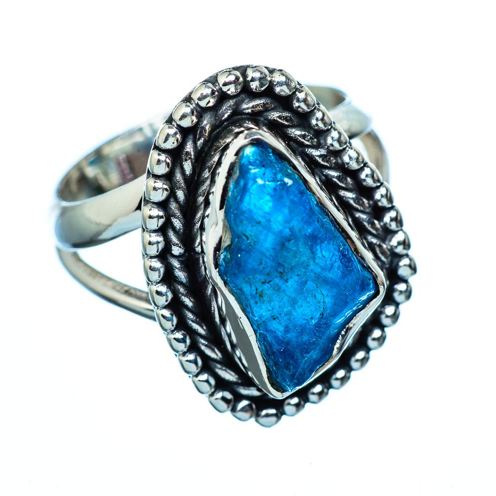 Vintage RING941481 Bohemian - Handmade Jewelry 925 Sterling Silver Ana Silver Co Rough Apatite 925 Sterling Silver Ring Size 6.75