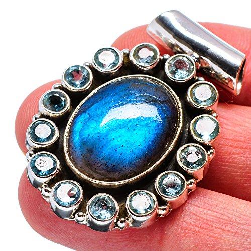 Pendant Cabochon Sterling Silver Handmade (Labradorite, Blue Topaz Pendant 1 1/2