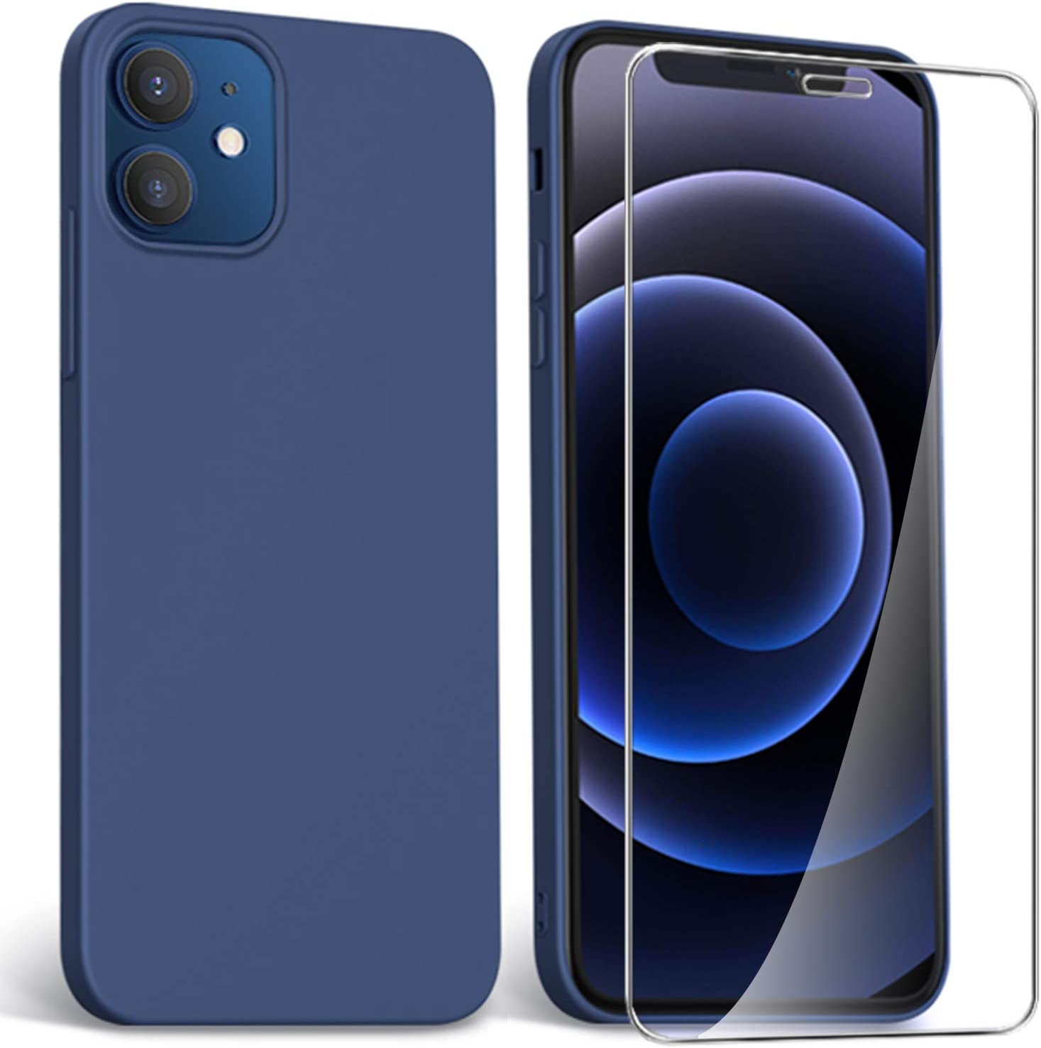 ARRYNN Funda para iPhone 12 Mini + protector de pantalla de cristal blindado, funda líquida de silicona TPU para iPhone 12 Mini 5,4 pulgadas, color azul