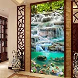 Sykdybz New 5D Diamond Filled With Waterfall Vertical Restaurant, Point Drill Cross Stitch, Living Room, Simple Modern Decorative Painting,60X115Cm