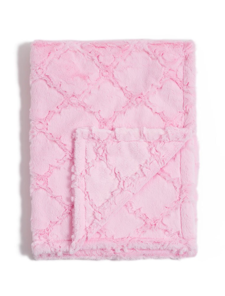 Baby Laundry Double Layer Minky Blankets/Throws for Toddler Bed, Children - Pearl Pink Quaterfoil (Child 42''x55'')