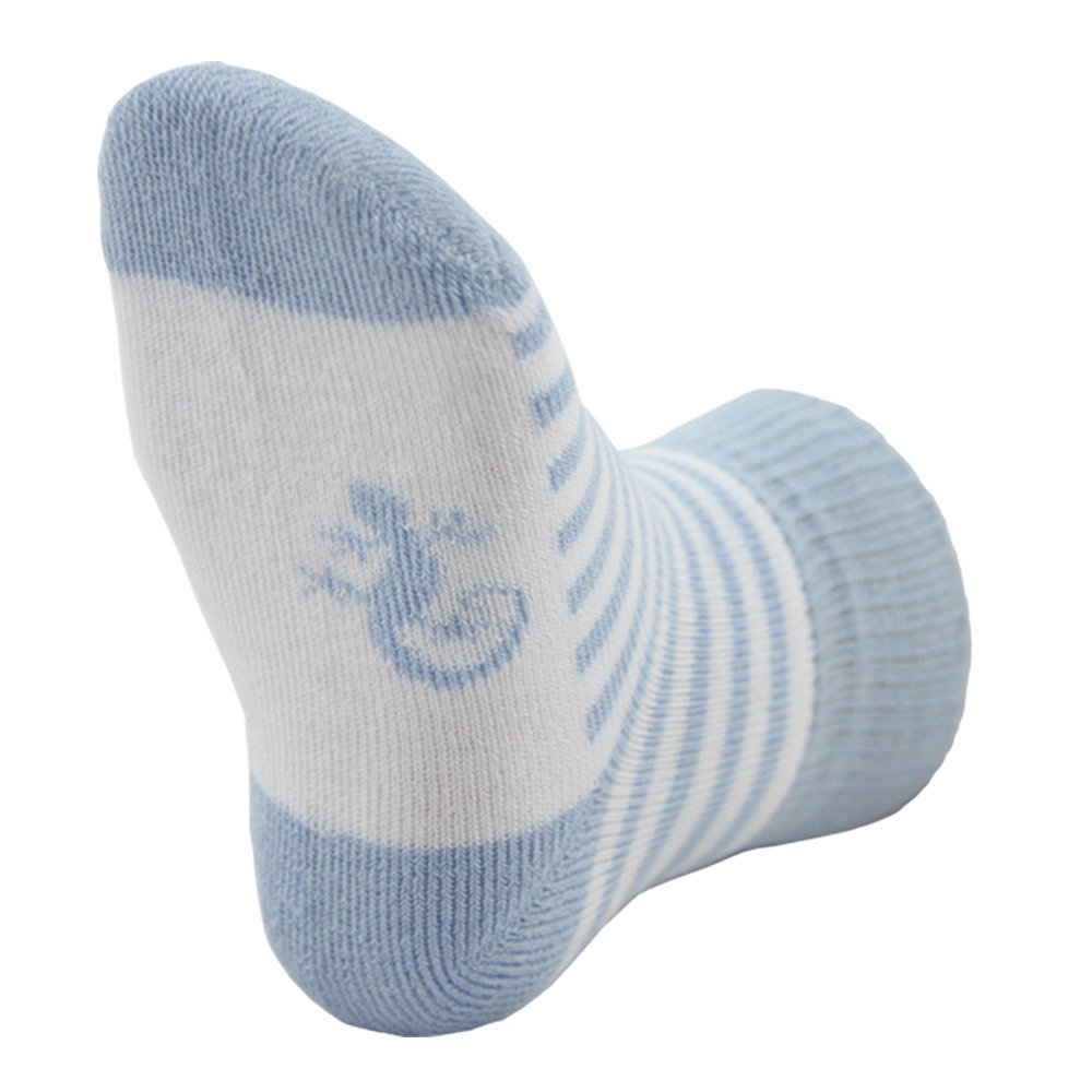 STAY ON Cosy Towelling Baby Socks from Little Grippers – Blue Stripe 0-6 Months LG009D-Blue-Stripe