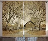 Ambesonne Farmhouse Decor Collection, American Countryside Village Monochromic Historic Vintage Scenery Picture Print, Living Room Bedroom Curtain 2 Panels Set, 108 X 90 Inches, Olive Ivory Sepia