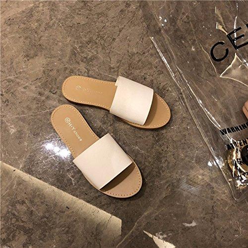Simple Nuevo A white Redonda De Print Un Plano Cabeza Sandals Zapatillas Tipo Dedo Y Estilo Prueba Antideslizante Frio Fondo H6wUp