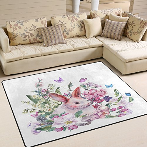 ALAZA Floral Butterfly Rabbit Bunny Area Rug Rugs for Living Room Bedroom 7' x 5' (Bunny Rugs Area Rabbit)