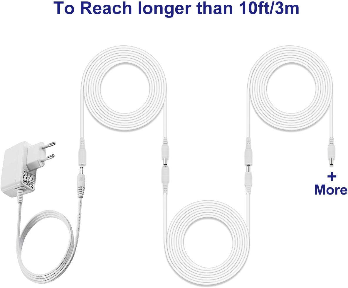 Cable de extensi/ón Universal de 3 m para P1 Compatible con Adaptador de alimentaci/ón de 5 V de Otras Marcas CCTV//c/ámara IP Conector de 3,5 mm DC Negro Dericam P2