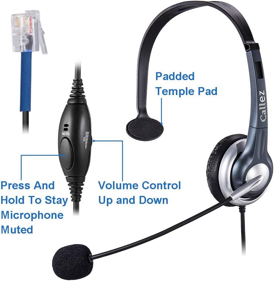 Callez Auriculares Teléfono Fijo RJ9 Mono, Control de Volumen, Micrófono con Cancelación de Ruido para Plantronics M10 M12 M22 MX10 Amplificadores o Cisco 7940 7942 Teléfonos IP de Oficina (C300C1): Amazon.es: Electrónica