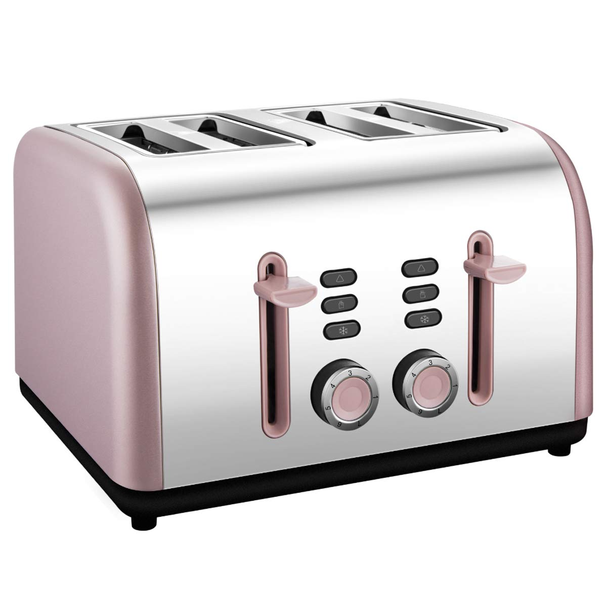 4 Slice toaster, Extra Wide Toaster 4 Slice Stainless Steel with Defrost/Reheat/Cancel/Quick Buttons 7 Browning Settings, 1400W, Rose Gold