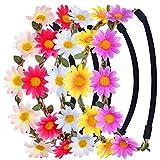 eBoot Multicolor Daisy Flower Headband Crown with Adjustable Elastic Ribbon, 5 Pieces