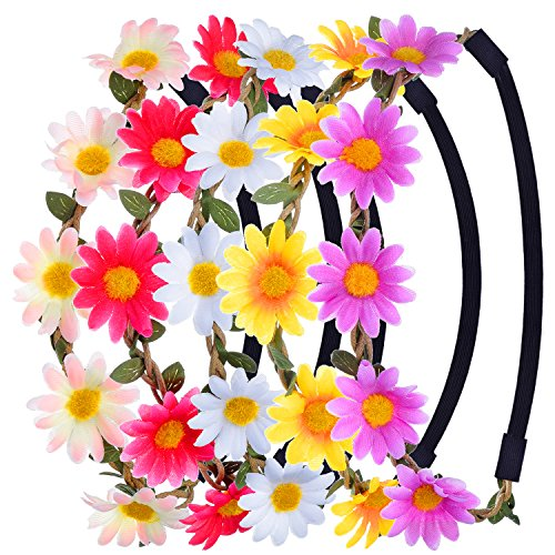 eBoot Multicolor Daisy Flower Headband Crown with Adjustable Elastic Ribbon, 5 Pieces (Multicolor B) -