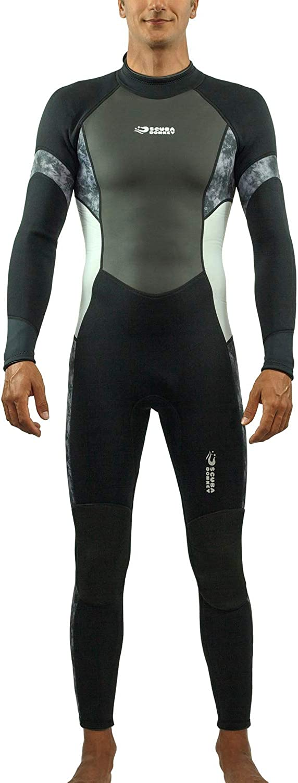 Scubadonkey Surfing Scuba Diving Full Body Wetsuit for Men 3mm Neoprene Shark Skin Chest Panel Super Stretch Neck and Cuffs
