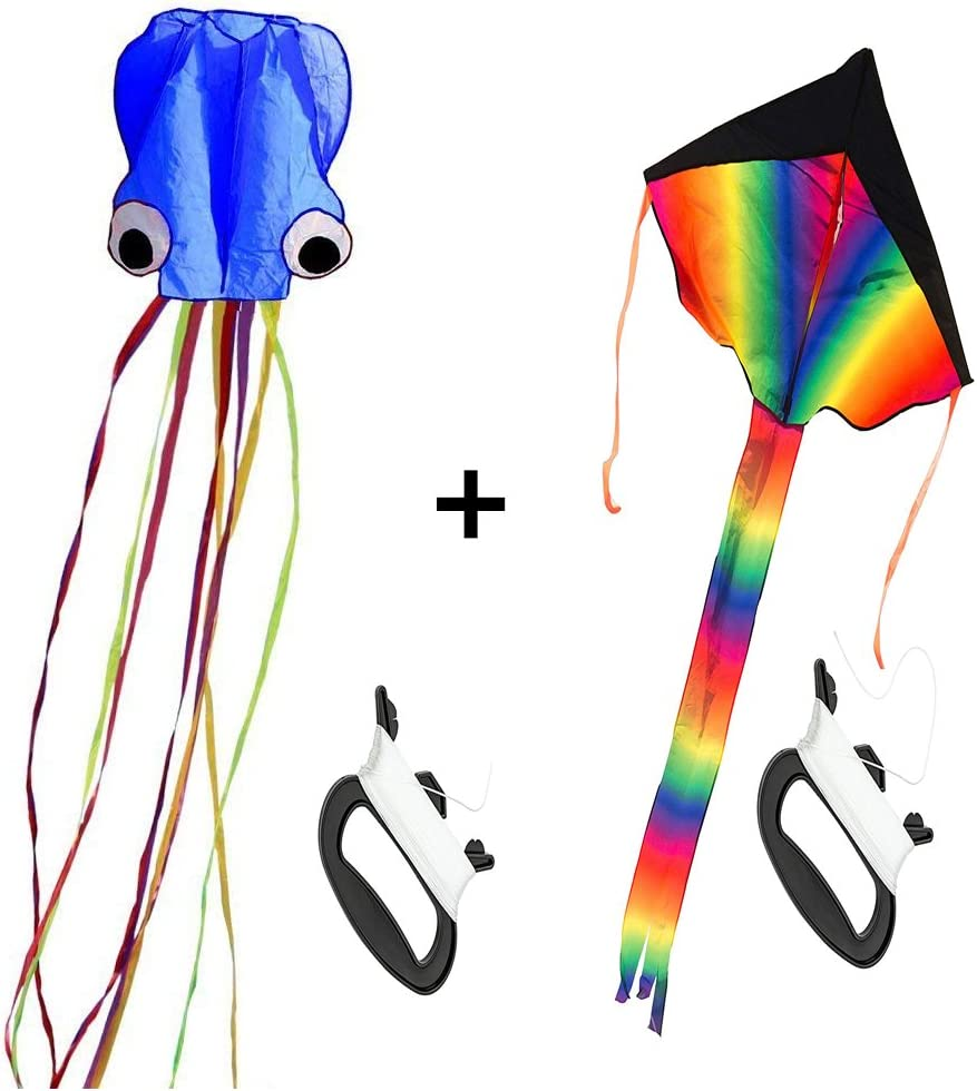 2 Pack Kites Blue Large Rainbow Delta Kite and Mollusc Octopus for Children Outdoor Game,Activities,Beach Trip Great Gift to Kids Childhood Memories