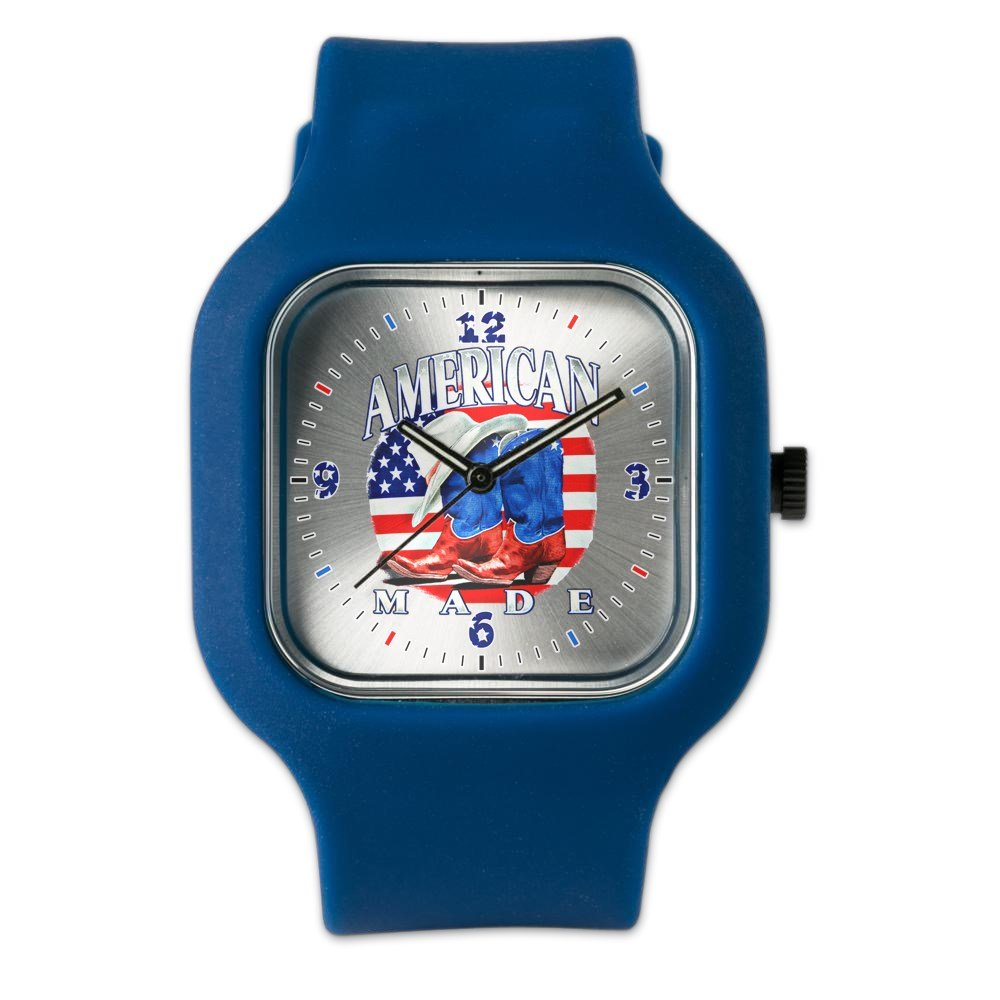 Navy Blue Fashion Sport Watch US American Flag Country Cowboy Boots