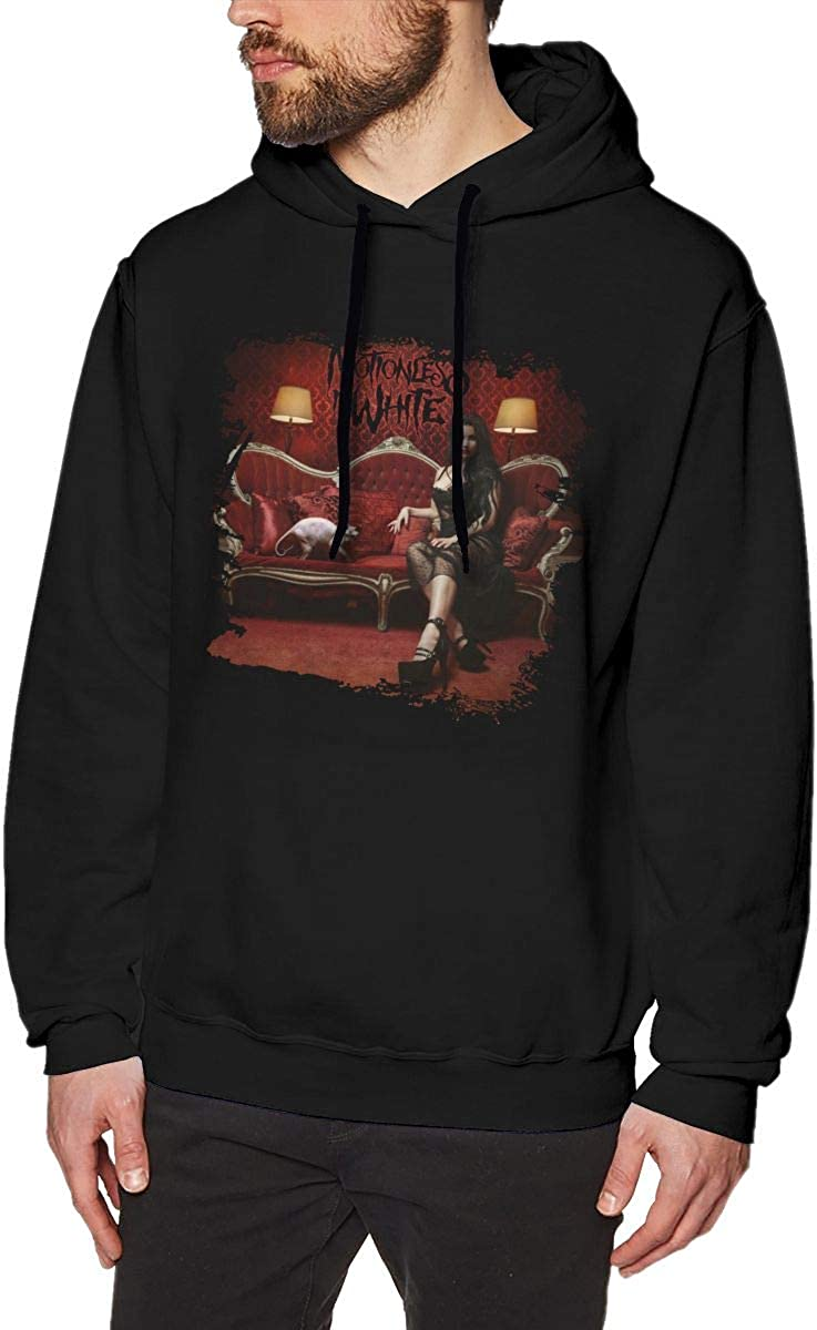 Luckyoung Motionless in White Fashion Mens Long Sleeve Fleece Pullover Top Black