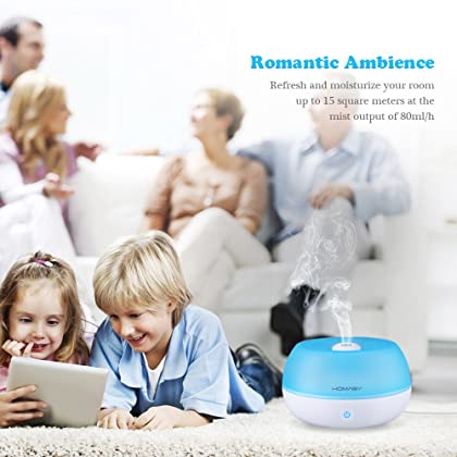 Homasy 800ml Ultrasonic Cool Mist Humidifier, One Touch Button Control, Auto Shut off Function for Office Home Bedroom Yoga Spa (Blue)
