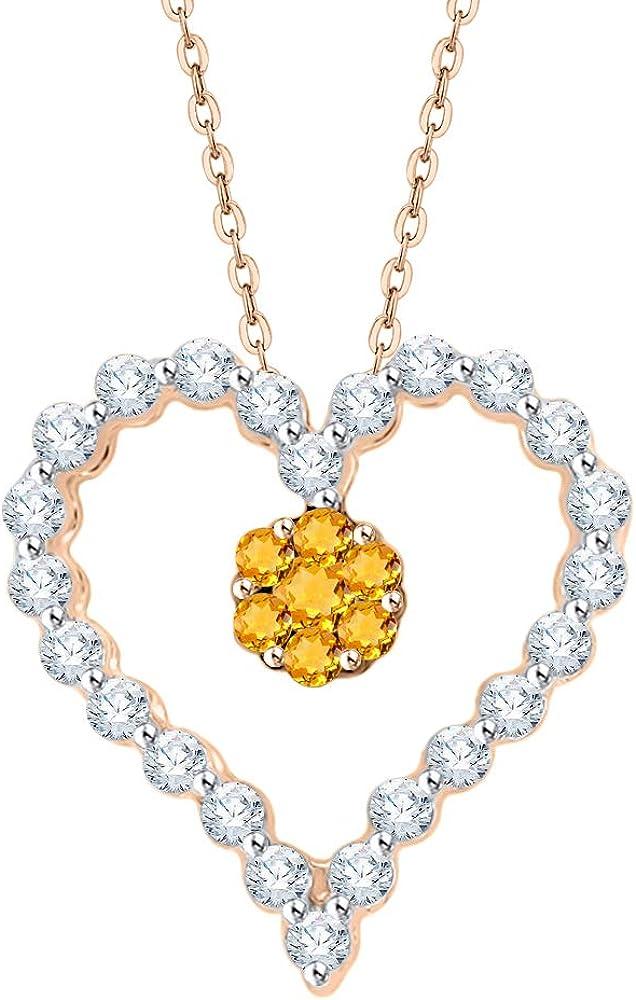 KATARINA Collar con colgante en forma de corazón y piedra de citrino en oro o plata (1/4 quilates, I-J, I1)