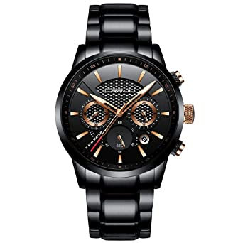 59c628644cf7 CRRJU Mens Stainless Steel Watches Date Casual Wrist Watch with Black Dial