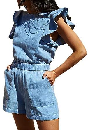 8faefdde9429 Amazon.com  JINTING Denim Romper for Women Sleeveless Ruffle Romper Zipper  One Piece Short Pants Romper Jumpsuit with Pocket  Clothing