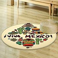 Round Area Rug Carpet Mexican Symbols Viva Mexico Ornate Historic Heritage Civilization Living Dining Room Bedroom Hallway Office Carpet-Round 24