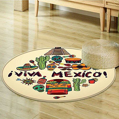 Round Area Rug Carpet Mexican Symbols Viva Mexico Ornate Historic Heritage Civilization Living Dining Room Bedroom Hallway Office Carpet-Round 24'' by Liprinthome