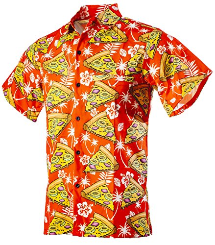 Funny Guy Mugs Mens Hawaiian Pizza Print Button Down Short Sleeve Shirt, Medium