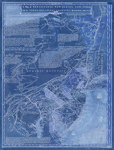 Jersey Blueprint - Vintography 18 x 24 Blueprint Style Reproduced Old Map 1749A map Pensilvania, New-Jersey, New-York The Three Delaware Counties Evans, Lewis - Hebert, L. 5083BL_