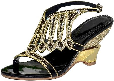 Womens Diamante Evening Wedding Bridal Prom Party Wedges Heel Sandals Gold Black,Black,EUR39/UK7