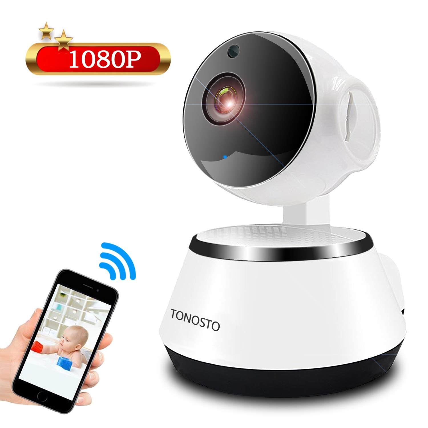Baby Monitor, TONSTO 1080P HD Wireless Indoor Surveillance Camera Nanny Cam with 2 Way Audio Night Vision Motion Tracking High Pixel WiFi Camera Auto-Cruise, Monitor Remote by Android and iPhon easily