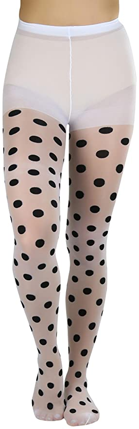 1960s Tights, Stockings, Panty Hose, Knee High Socks ToBeInStyle Womens Vintage Style Polkadot Pantyhose $14.95 AT vintagedancer.com