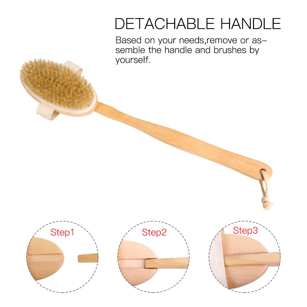 Longhandle Dry Skin Bath Body Brush - Detachable Boar Bristle Shower Brush with Grip for Elders Perfect for Cellulite and Exfoliating