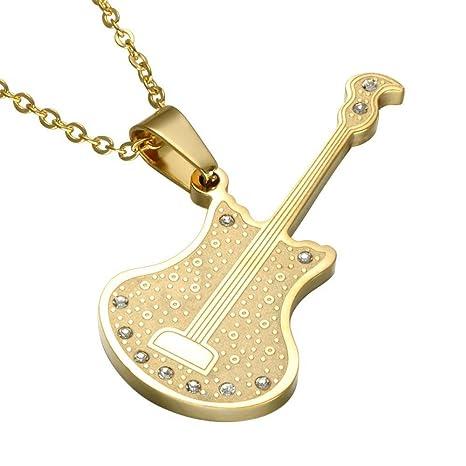 Lozse Collar de los Hombres Mans Colgante Oro Guitarra eléctrica Acero con Incrustaciones de Titanio Colgante