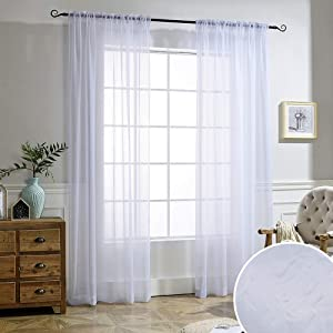 White Sheer Curtains Voile Draperies - NICETOWN Rod Pocket & Back Tab Crushed Sheer Window Treatment Voile Curtain Panels for Living Room (1 Pair, 52 Wide x 84 inch Long)