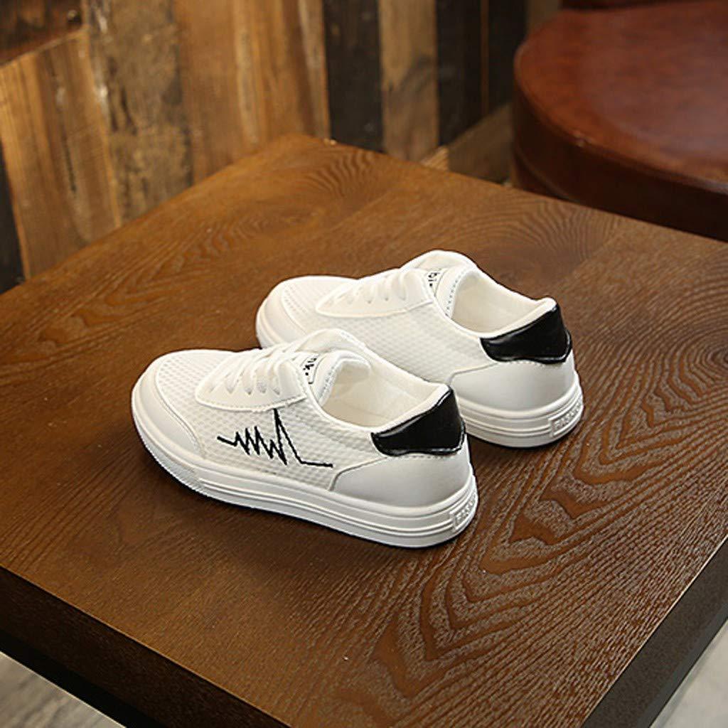 ❤️ Mealeaf ❤️ Children Infant Kids Baby Boys Mesh Breathable Chromatic Shoelace Sport Shoes(Black,28)