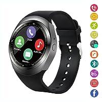 Smart Watch,IDEALBY Rotondo Android Bluetooth Smartwatch Touch Screen Orologio con slot per schede SIM TF,Pedometro,Monitor Sonno,Whatsapp,FB per IOS Telefoni iPhoneX/8/8p/7/7p,Samsung,Sony,Huawei(Argento)