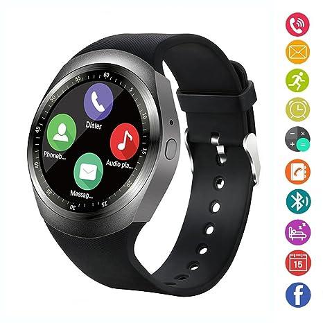 Reloj Inteligente, IDEALBY Reloj con Pantalla táctil Bluetooth Smartwatch con Ranura para Tarjeta SIM TF, podómetro, Monitor de sueño para iPhone ...