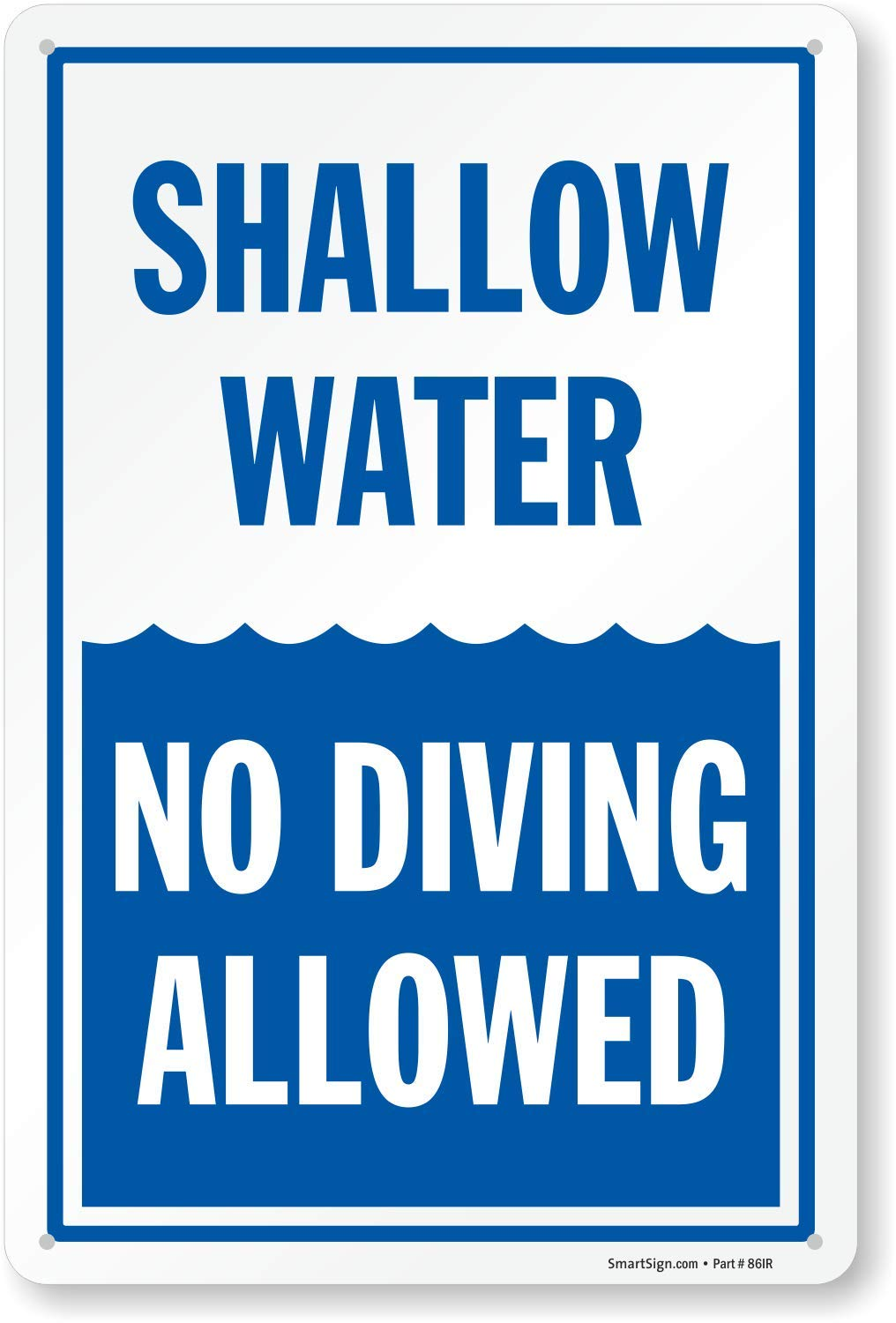 SmartSign ''Shallow Water No Diving Allowed'' Sign | 10'' x 15'' Plastic by SmartSign
