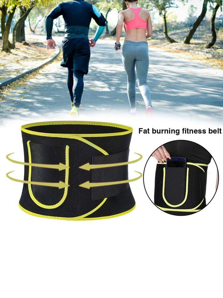 Waist Trainer Adjustable Slimming Belt Weight Loss /& Sauna Effect /& Fat Burning Premium Sweat Belt For Men /& Women Fitness(yellow) pegtopone Burning Fat Fitness Belt Waist Trimmer Sauna Belt