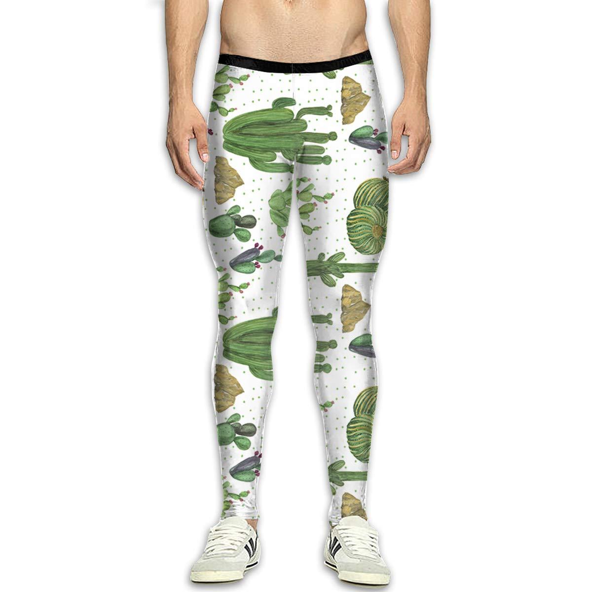 - - - Techdecorhomee Mens Compression Leggings Yoga Pants Desert Cactus Succulent Plants Watercolor Running Tights Shapewear Sports Trousers White 3b32fb