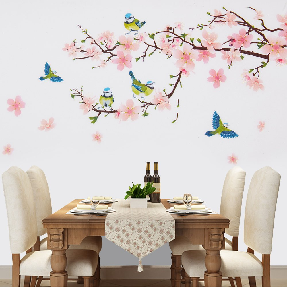 Wopeite Floral Wall Decal Sticker Self - Adhesive Flower Peach Blossom Tree Branch Instant Wall Decal Sticker for Living Room Bedroom 45 X 60 cm by Wopeite (Image #2)