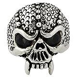 Serpentine Demon Skull Sterling Silver Black Cubic Zirconia Eyes