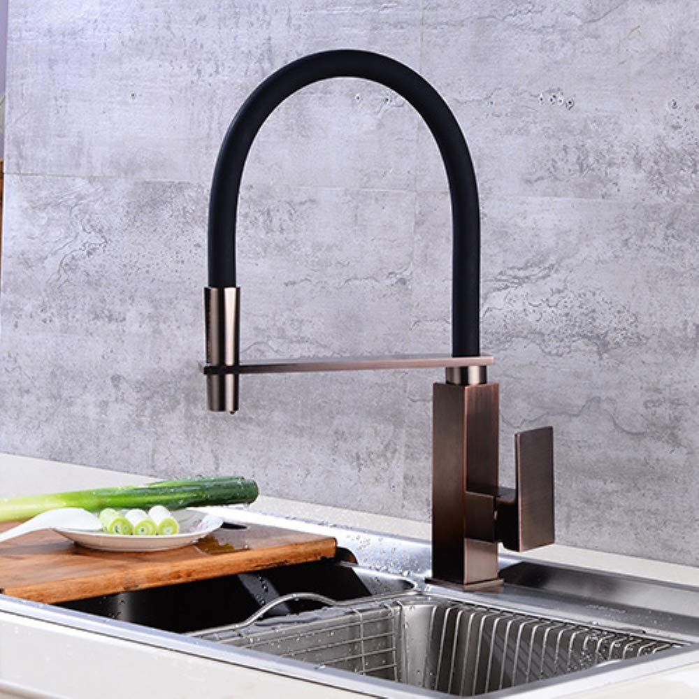 JackeyLove Küchentippe, Pull Down Sprayer Kitchen Basin Sink Mixer Tap 360 Deplree Rotating Spout Hot and Cold Water Kitchen Faucet Brass Chrome Standard Fittings,A